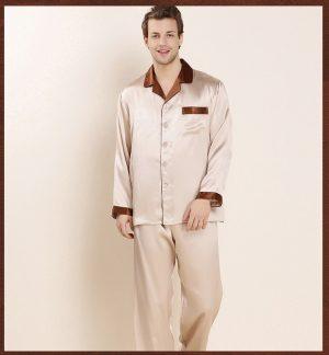 Silk Long Sleeve Shirt & pant Men Sleepwear