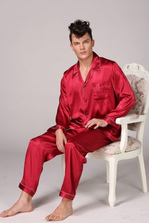 Men Nightwear Long Sleeve Sleeping Suit for Men
