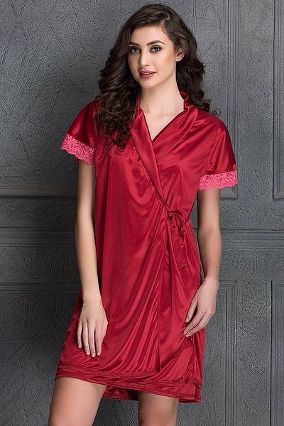 Short Night Dress & Robe Set in Maroon