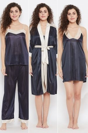 4 Piece Nightwear Set in Dark Blue