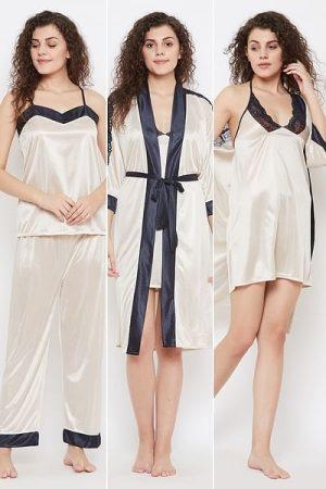 4 Piece Nightwear Set in Skin Color