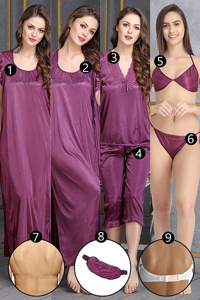 9 Pcs Bridal Nightwear Set in Purple