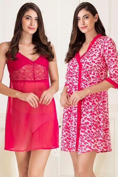 Short Night Dress & Printed Robe Set in Dark Pink