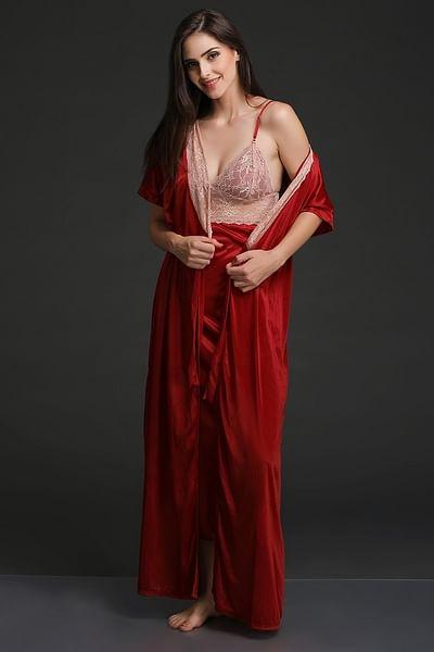 Long Night Dress & Robe Set in Maroon