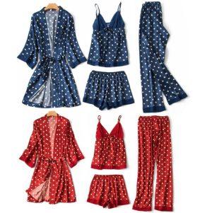 Women 4 Pieces Dot Print Sleepwear Night Gown Pajamas