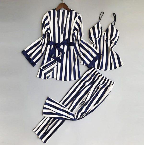 Ladies Silk Three Piece Pajamas Nightdress
