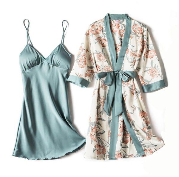 4 Piece Set Ladies Pajama Night Dress with Chest Pads
